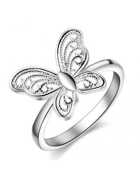Inel placat cu argint, fluturas cu model filigranat