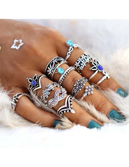 Set 13 inele, modele diverse cu flori, cristale albastre si calut