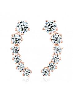 Cercei eleganti, arcuiti, cu cristale albe de zirconie cubica