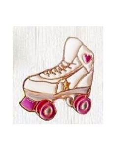 Pin patine cu rotile Skater Girl, metalic, stil hipster, alb cu roz