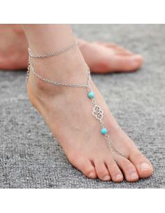 Bratara cu inel pentru picior, lantisoare cu medalion si margele