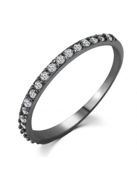 Set doua inele elegante, negre, cu cristal mare mov si mici cristale albe