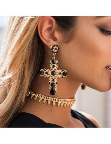 Cercei statement, model baroc, cruci mari aurii cu cristale si perle