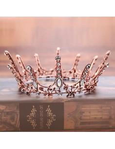 Coroana masiva aramie, cu frunze, flori si cristale opalescente