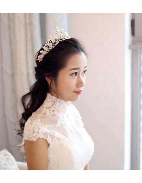 Tiara argintie Pearl Bride, ramuri cu cristale si perle mari albe