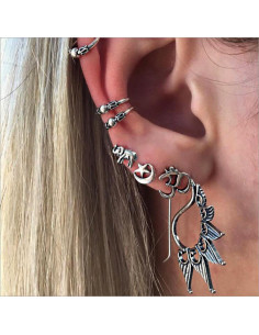 Set cercei si ear cuff, cu elefant, OM si semiluna, model boho patinat