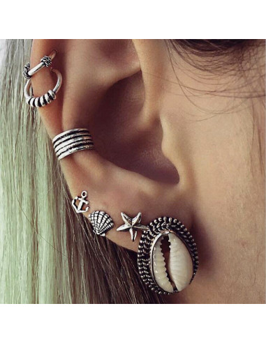 Set cercei ear cuff si inele, cu scoici, stea de mare, model nautic patinat