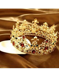 Coroana masiva aurie, Queen for a Day, cristale rosii, verzi si perle