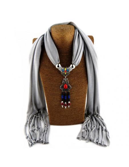 Esarfa de dama cu franjuri si medalion indian cu howlit rosu