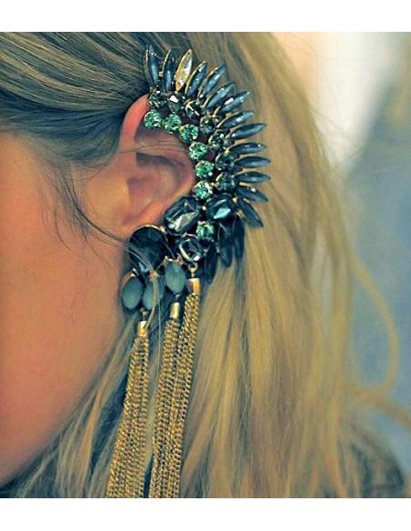 Cercel ear cuff statement, creasta cu cristale si canafi din lanturi