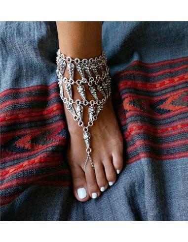 Bratara boho cu inel, pentru glezna, elemente triunghiulare si banut
