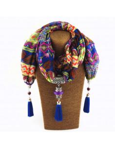 Esarfa de dama cu motive etnice, canafi si medalion circular