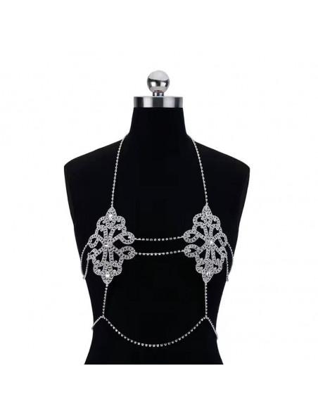Lant elegant pentru piept, model floral cu cristale albe, si lanturi