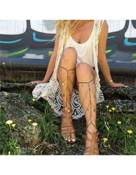 Lant pentru picior de inspiratie etnica, decorat cu banuti cu flori