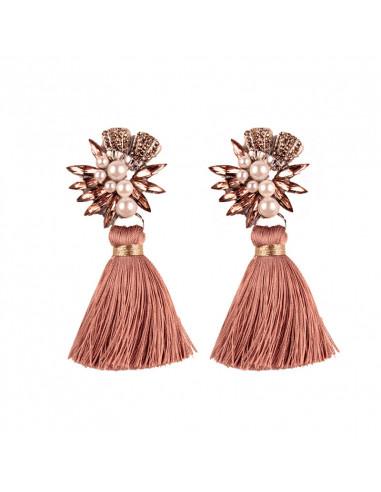 Cercei Luxury, floare cu perle, cristale si canafi mari