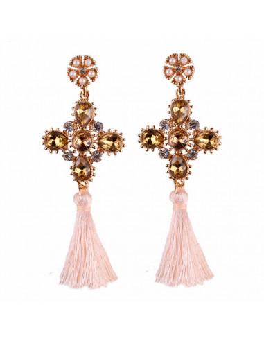 Cercei statement, cruci cu perle, cristale colorate si canafi