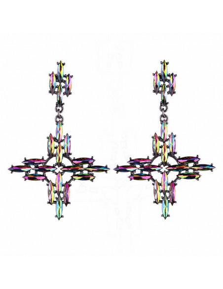 Cercei luxury, cruci mari cu brate simetrice si cristale ascutite