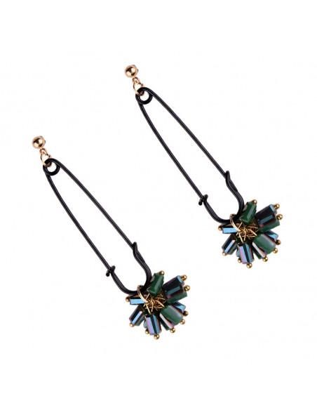 Cercei eleganti, Safety Pin, agrafe negre cu margelute verzi