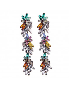 Cercei lungi eleganti, model floral cu cristale multicolore