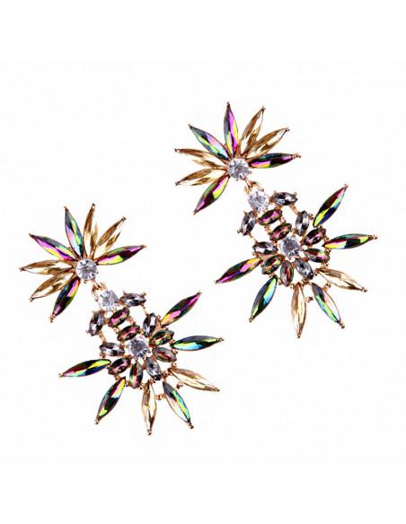 Cercei luxury Twin Daisies, cu cristale ascutite stralucitoare