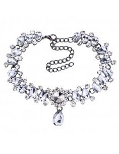 Choker lat elegant, cristale rotunde, picaturi si perle albe