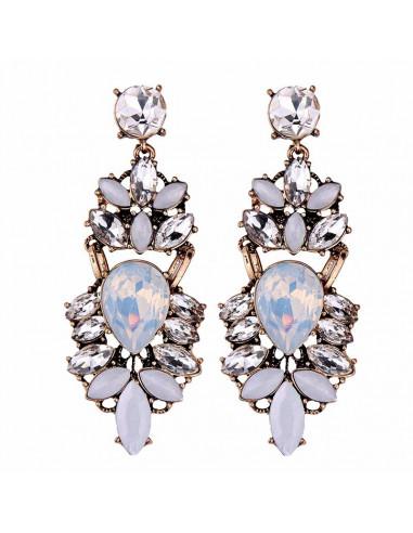 Cercei luxury Vintage Eleonore, cu cristale stralucitoare colorate
