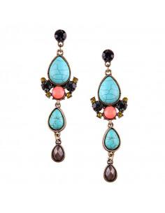 Cercei vintage Indian Charm, cu cristale colorate si howlit turcoaz
