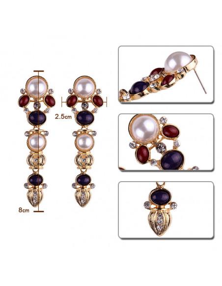 Cercei eleganti Pearl of England, aurii cu perle, margele si cristale