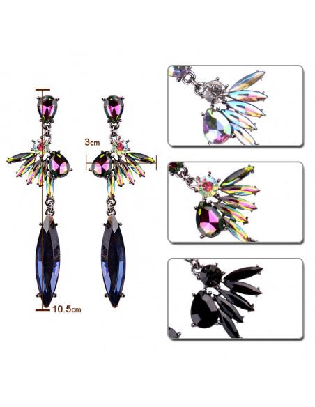 Cercei luxury foarte lungi, Queen Bee, cu cristal masiv