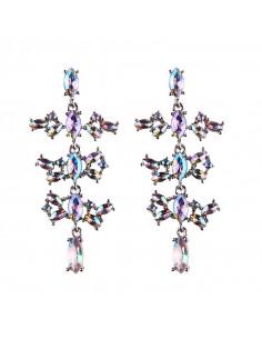 Cercei luxury Caterpillar, cu cristale stralucitoare multicolore