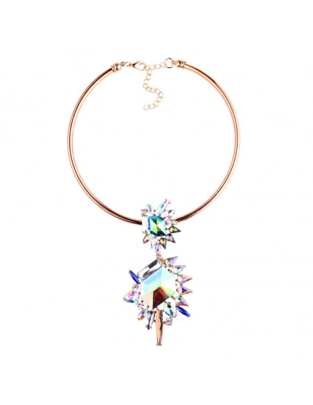 Colier luxury Supernova, medalion pe inel, cu cristale mari multicolore