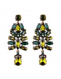 Cercei luxury Sweet November, cu cristale colorate stralucitoare