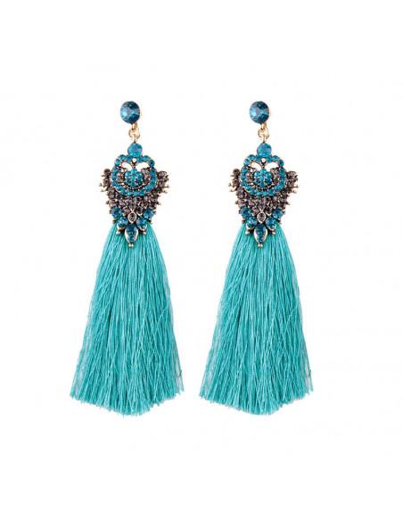 Cercei luxury Willow Bloom, medalion cu cristale si canafi lungi
