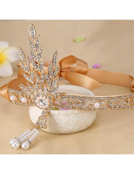 Tiara vintage The Great Gatsby, ramuri cu cristale, perle si panglica