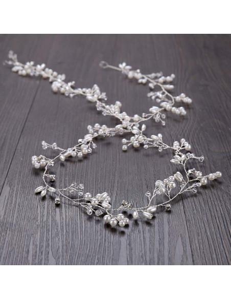 Accesoriu de par de mireasa, fir lung cu cristale si perle pentru impletituri