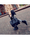 Geanta mare, neagra, din piele ecologica mata, tip postas, cu catarama lucioasa, model 2014