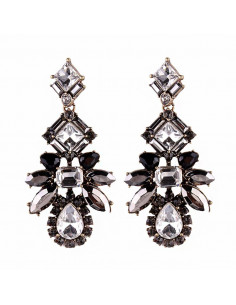 Cercei luxury Metallic Shimmer, cristale gri, albe si aurii