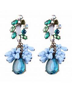 Cercei candelabru Blue Rain, cu margelute si cristal picatura bleu
