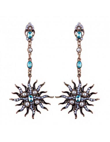 Cercei vintage Renaissance Sun, soare cu perle si cristale ovale
