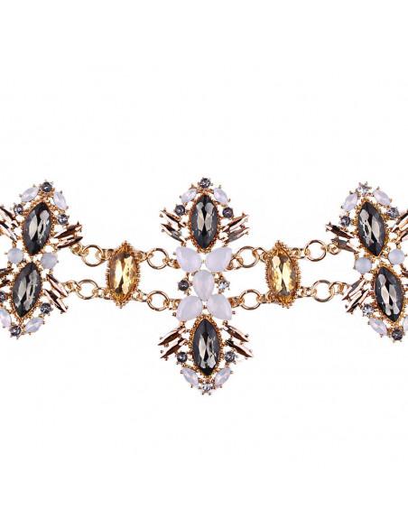 Curea luxury, medalioane mari ascutite, cu cristale multicolore