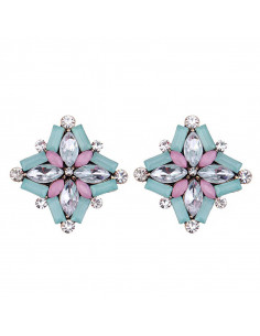 Cercei eleganti Sweet Chicory, flori cu cristale albe, roz si bleu pal