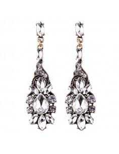 Cercei eleganti aurii White Iris Blossom, vintage cu cristale albe