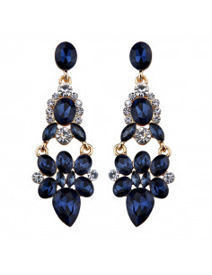 Cercei eleganti bleumarin, Evening in London, cu cristale bleumarin