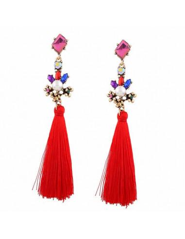 Cercei cu canafi lungi de matase cu perle si cristale mari multicolor