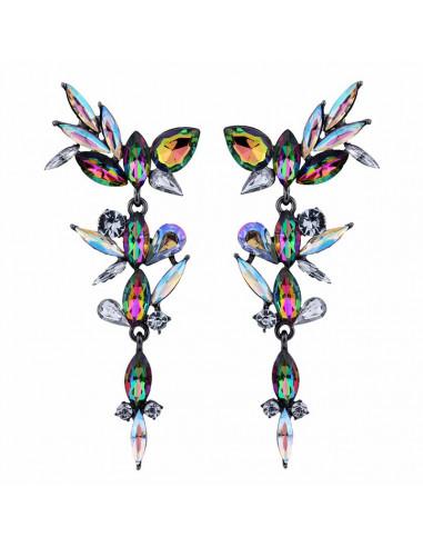 Cercei luxury Cymbeline, lungi, cu cristale stralucitoare cat-eye