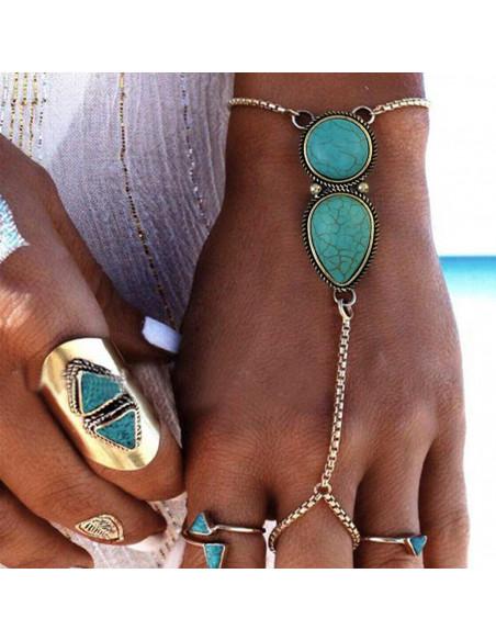 Bratara cu inel si howlit turcoaz, model etnic indian cu lantisoare subtiri