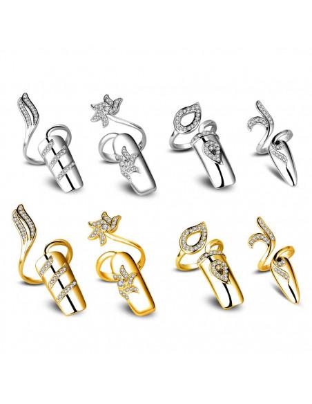 Inel pentru unghie, cu floare spiralata si cristale, varf drept