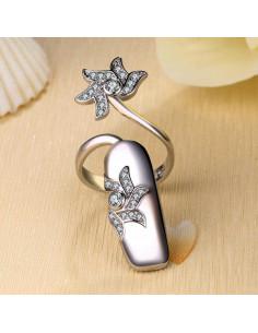 Inel pentru unghie, cu floare dubla si cristale, varf drept