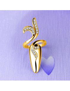 Inel pentru unghie, cu floare ondulata si cristale, varf ascutit