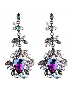 Cercei luxury Lady of the Lake, cu cristale stralucitoare colorate